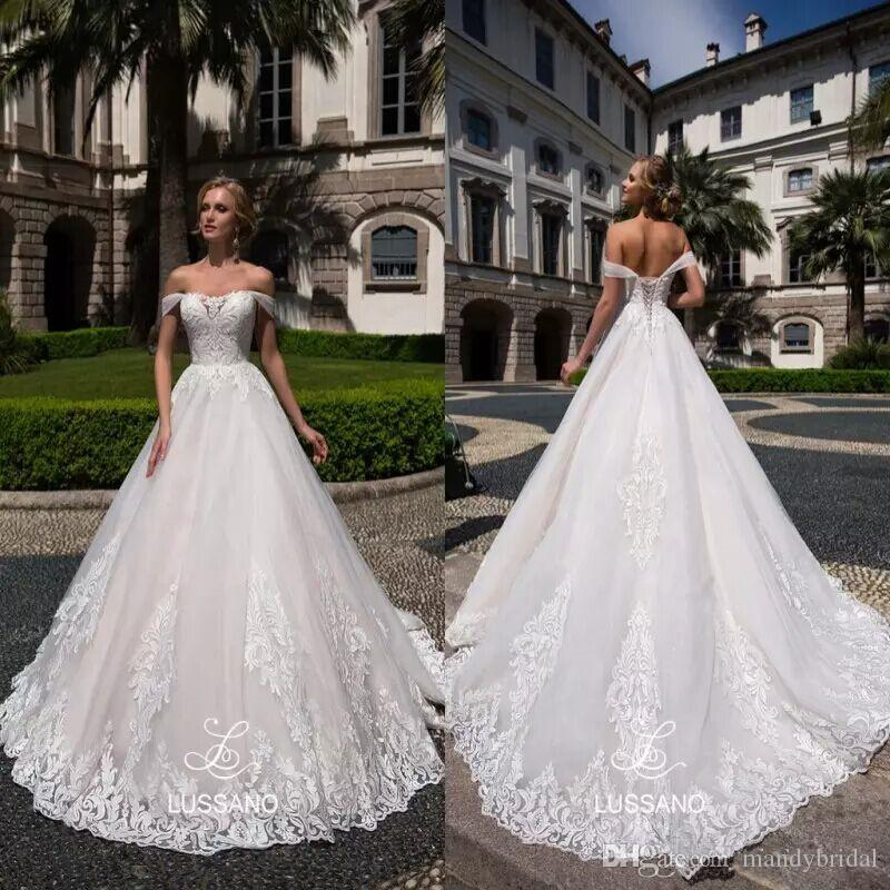Discount 2018 Spring Lussano Wedding Dresses Lace Off Shoulders Appliqued A  Line Lace Wedding Bridal Gowns With Corset Back Robe De Marriage Wedding  Dresses ...