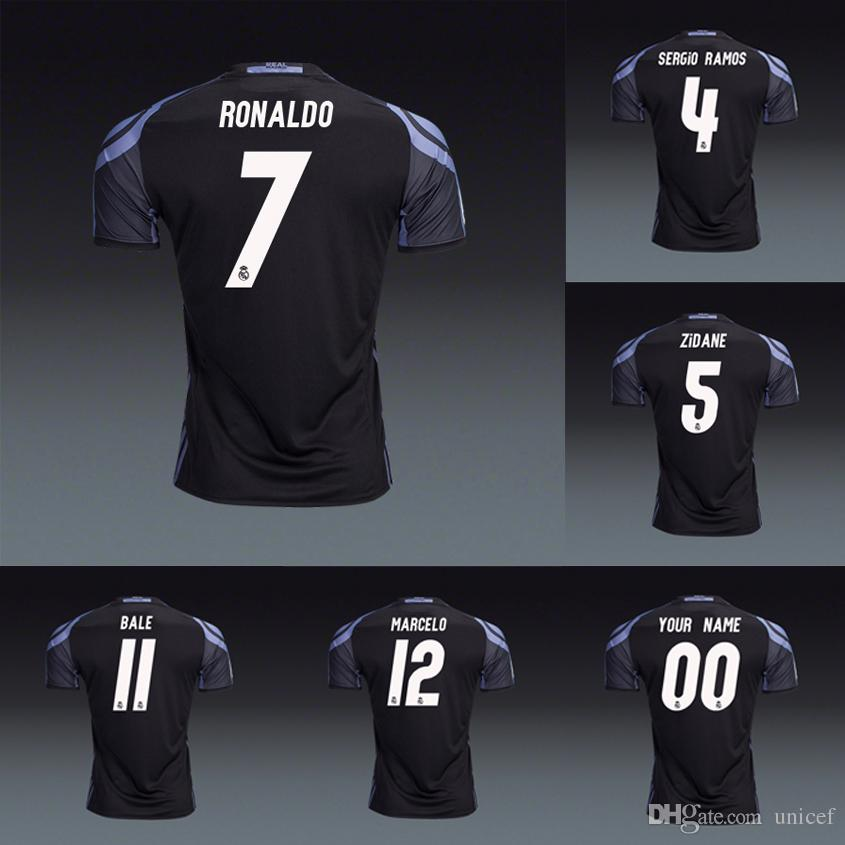 the latest caf89 17883 Player version Real Madrid 2016 2017 3rd Black soccer jerseys shirts  Cristiano Ronaldo Gareth Bale kroos Sergio Ramos Marcelo isco Zidane