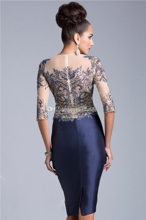 2015 Sexy Cocktail Dresses Half Sleeve Blue Sheer Neck Janique Knee Length Sequin Beading Party Queen Formal Mother of the Bride Dress Gowns