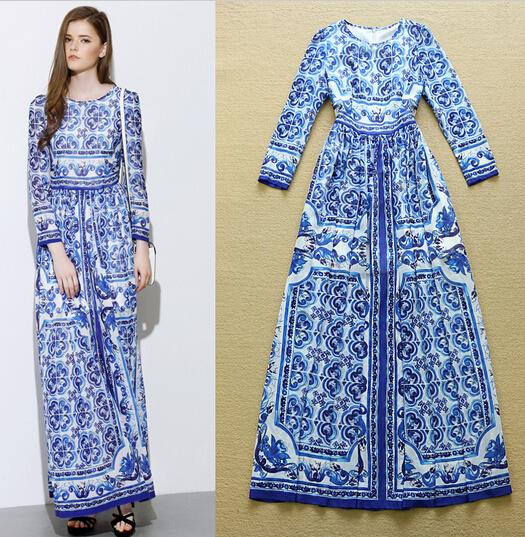 Casual Dresses Blue Long Sleeve Maxi