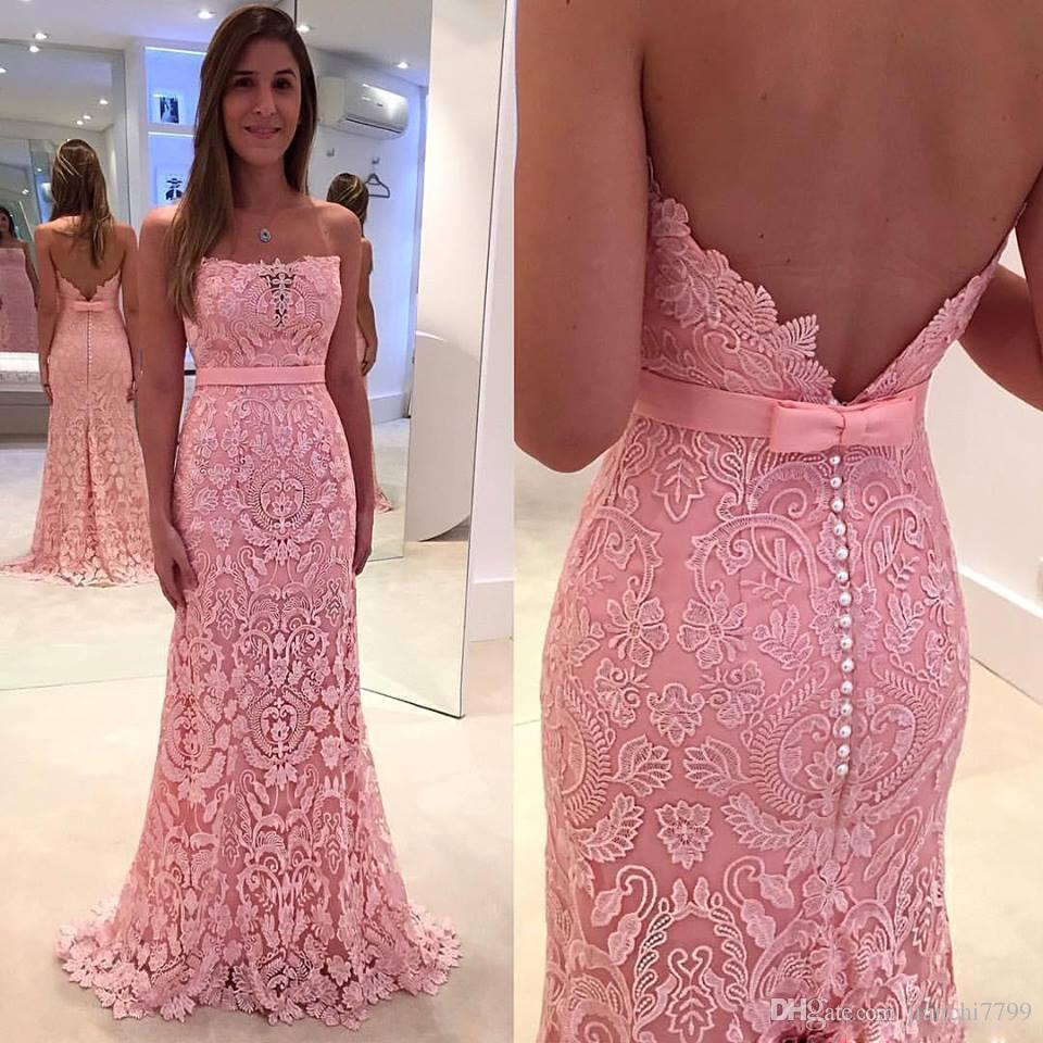 Cheap Pink Full Lace Prom Dresses Strapless Backless Off The ...