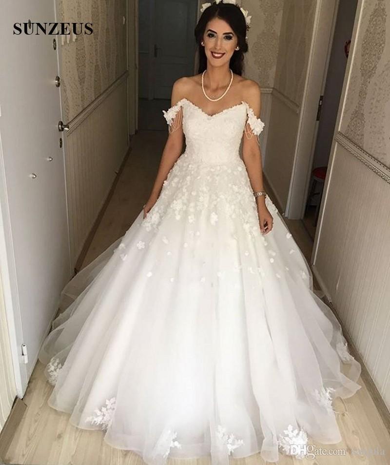 Discount Fashion Off Shoulder Wedding Dresses 2017 Hand Made Flowers ...