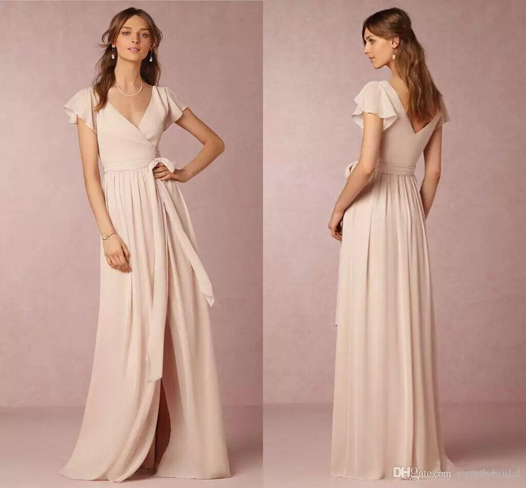 Compre Bhldn Vestidos De Dama De Honor Light Pink 2018 Modest Side ...
