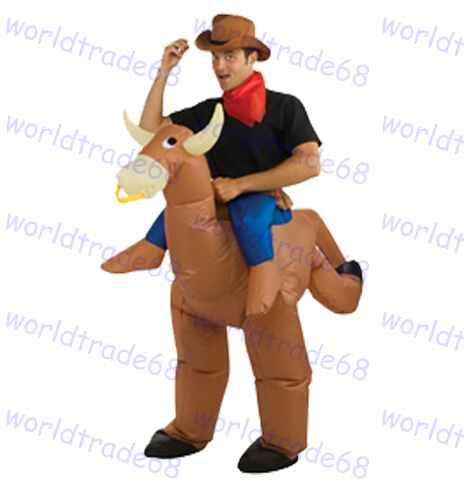 hot sale adult halloween costumes inflatable funny cowboy ride on bull costumes air blown up fat clothes costumes for 3 people halloween costumes for 4 - Halloween Costume For Fat People
