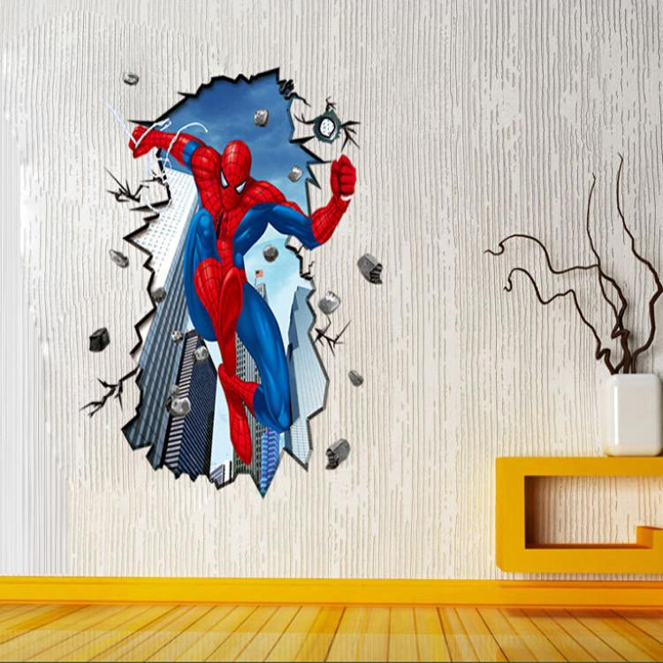 Spiderman 3d Art Wall Decals Removable Pvc Wall Stickers Children Bedroom  Wall Stickers Environmental Protection 70*100cm Retro Wall Stickers  Reusable Wall ...
