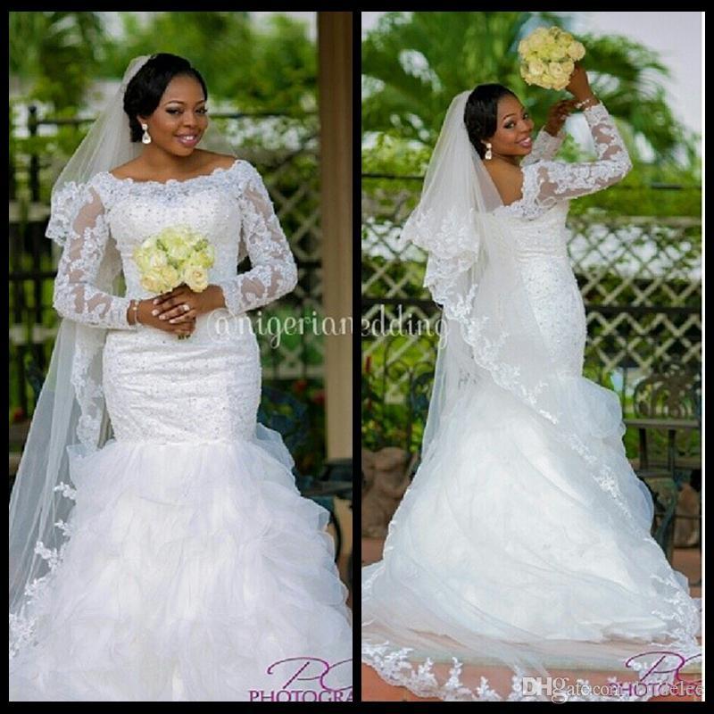 2020 элегантные бисером кружева с длинным рукавом плюс размер русалки свадебные платья халат де брата африканские черные платья невесты