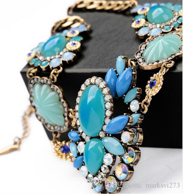 Vintage-Schmuck Hals Frauen Blaue Blume Halsketten Charms Aussage Halskette Colar Für Damen S99605