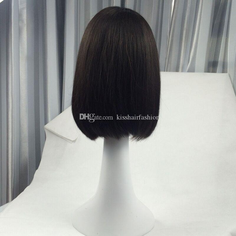 Glueless Lace Front Virgin Human Hair Wigs Short Bob Wig Silky Straight Style Neat Ends Middle Part 10 12 14 16 inch