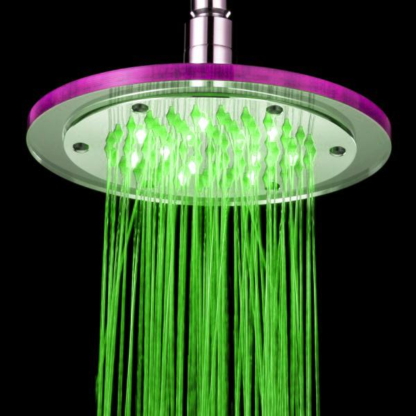 2018 8 Inch Led Shower Head Light Changing Water Saving Bathroom ...
