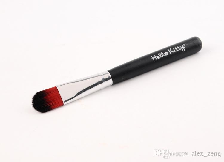 Venta caliente de DHL Venta caliente 7 Unids / set Hola kitty maquillaje kit de cepillo cosmético pinceles de maquillaje caja de hierro negro / artículos de tocador belleza pincel de maquillaje