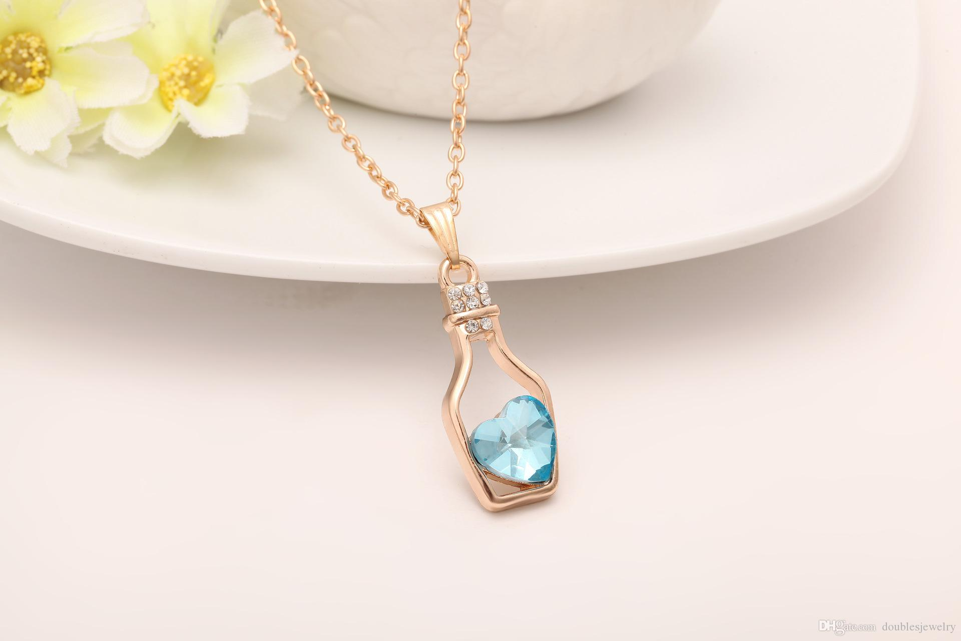 Europe and the United States women's Fashion Pendant Necklace. Love a bottle bottle Rhinestone chain alloy clavicle bulk sales