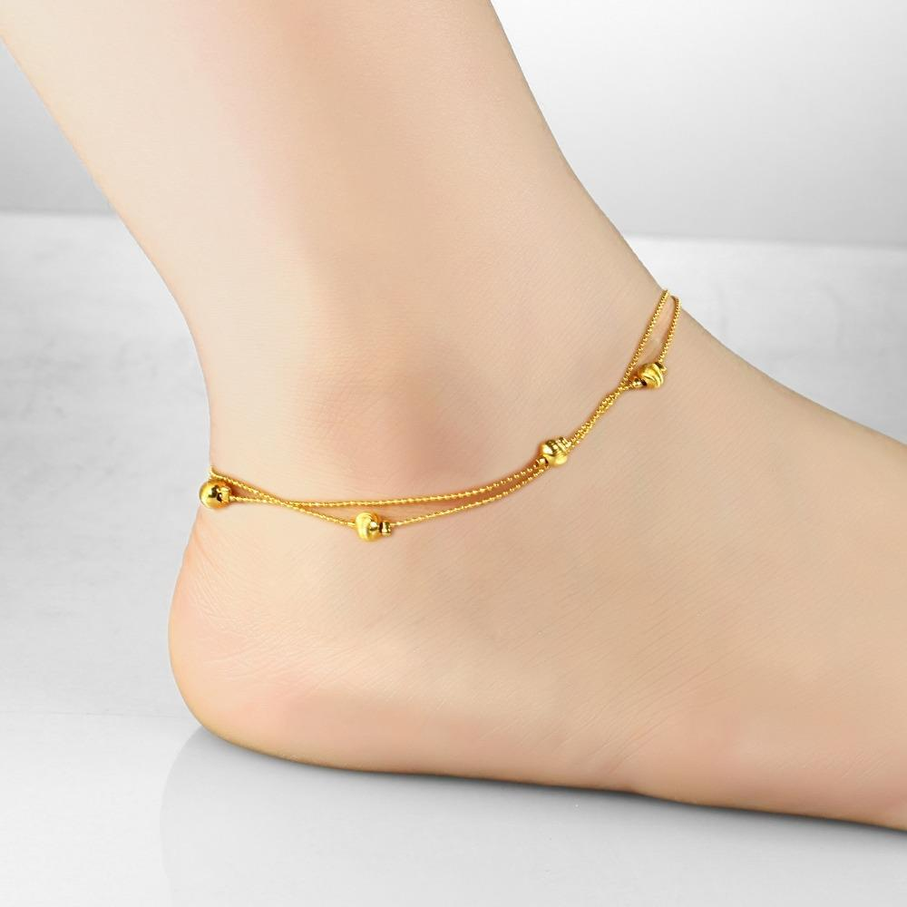 Us Heart Pendant Ankle Bracelet Jewelry Double Layer 727  From