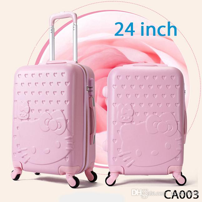 24 Inch,Spinner,Hello Kitty Suitcase,Abs Luggage Bag,Girl Travel ...