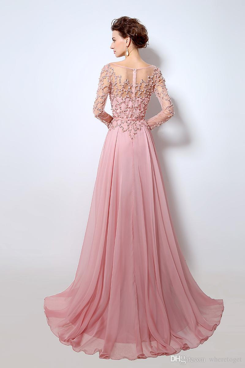 Elie Saab 2019 lång brud kväll klänning illusion juvel nacke pärlor sash a-line golv längd tulle billig kändis fest klänningar prom klänning
