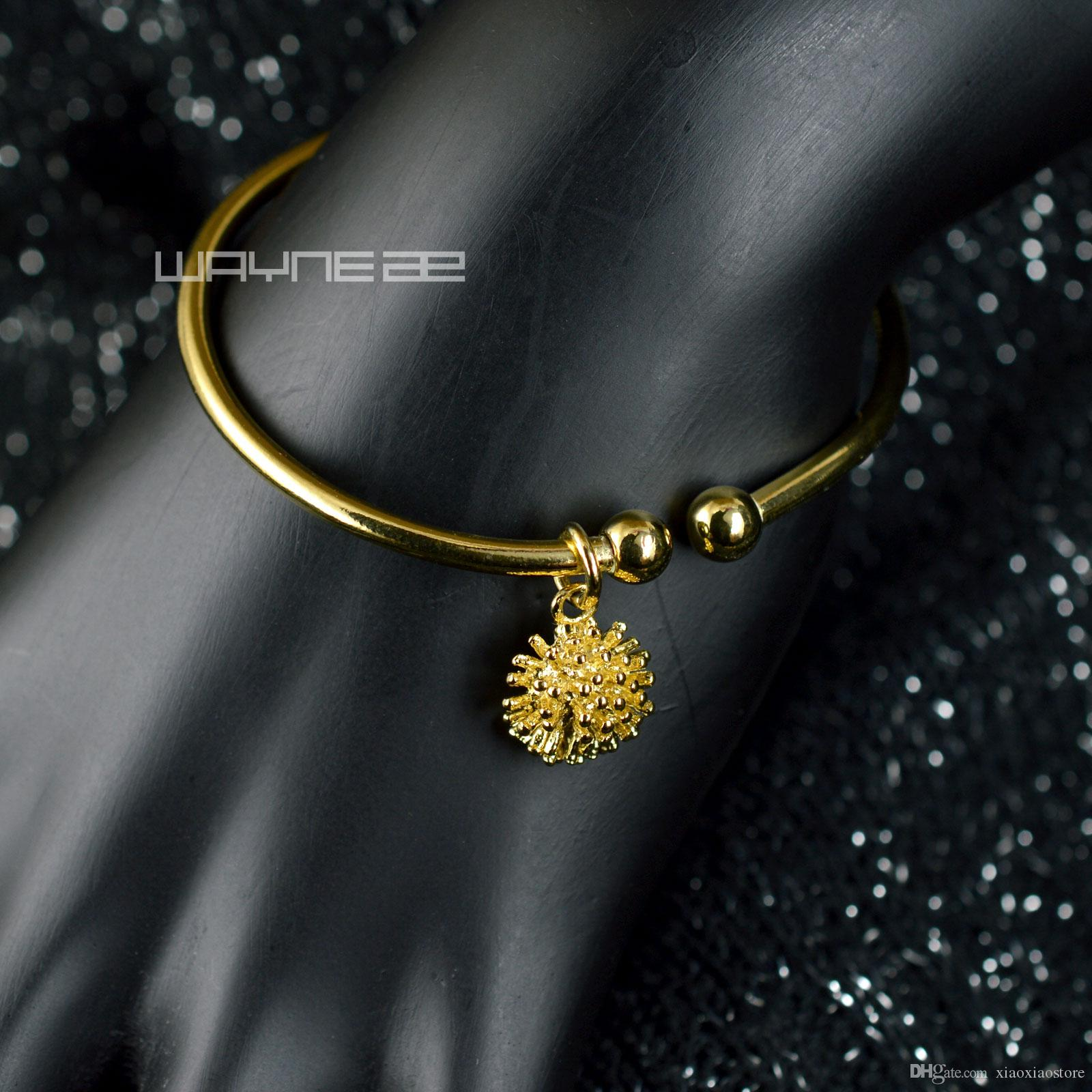 Girl's 18k yellow Gold GF Gift Jewelry bangle Bracelet G121 45mm x 55mm