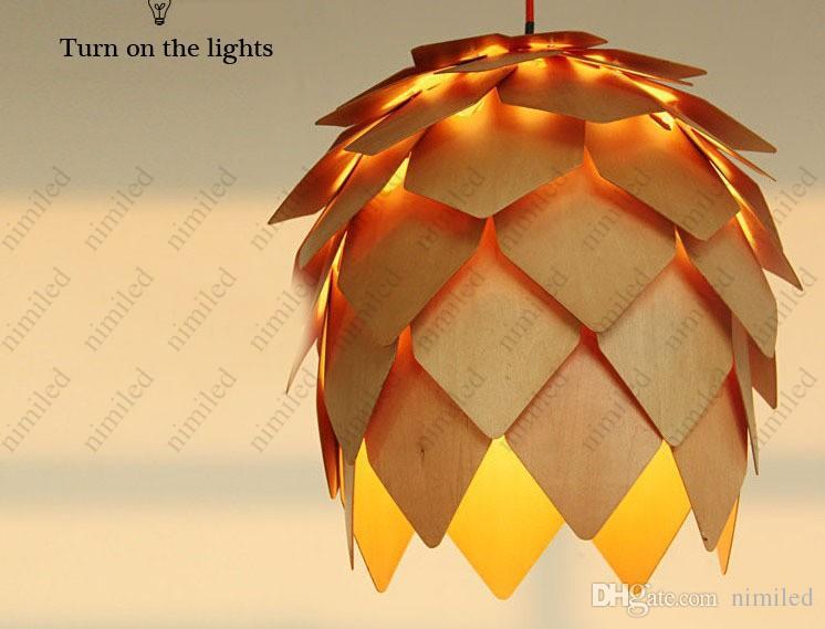 Dia 25 CM / Dia 40 CM Sosna Stożek Drewno Europejski Styl Nowoczesny Wisiorek Światła Lampy żyrandol E27 220 V / 110V Wisiorek Oświetlenie HSA1572