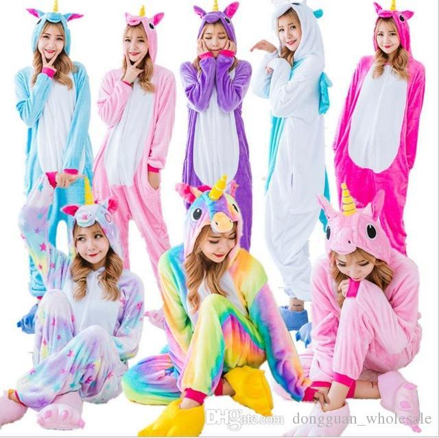 wholesale rainbow unicorn pikachu stitch unisex flannel hoodie pajamas costume cosplay animal onesies sleepwear men women adults four people halloween