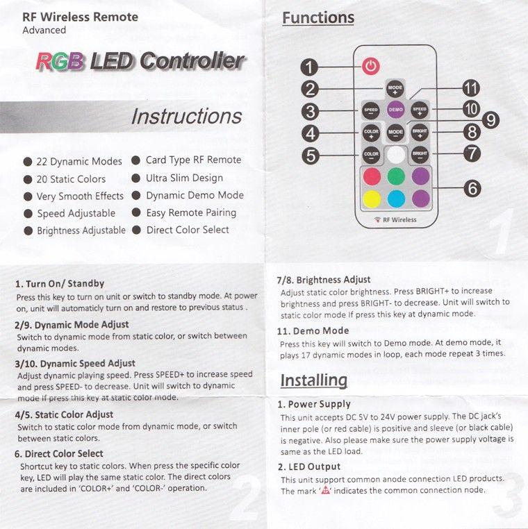 Mini RF Wireless led controller 144 W 17 KEY Led Remote Controller Led Dimmer Controller For RGB Light Strip 5050 3528