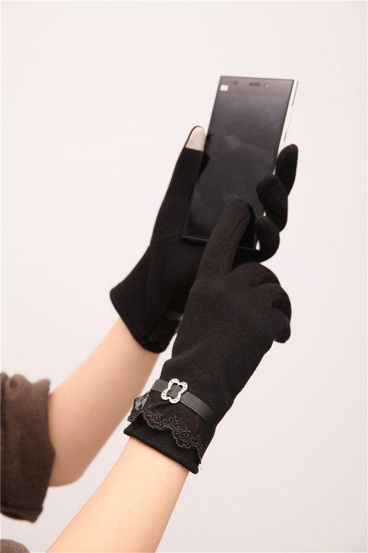 Handschuhe Frauen Winter Warm Touch Screen Spitze Baumwolle Nette Taste Decor Solide Erwachsene Inverted Kaschmir Handschuhe