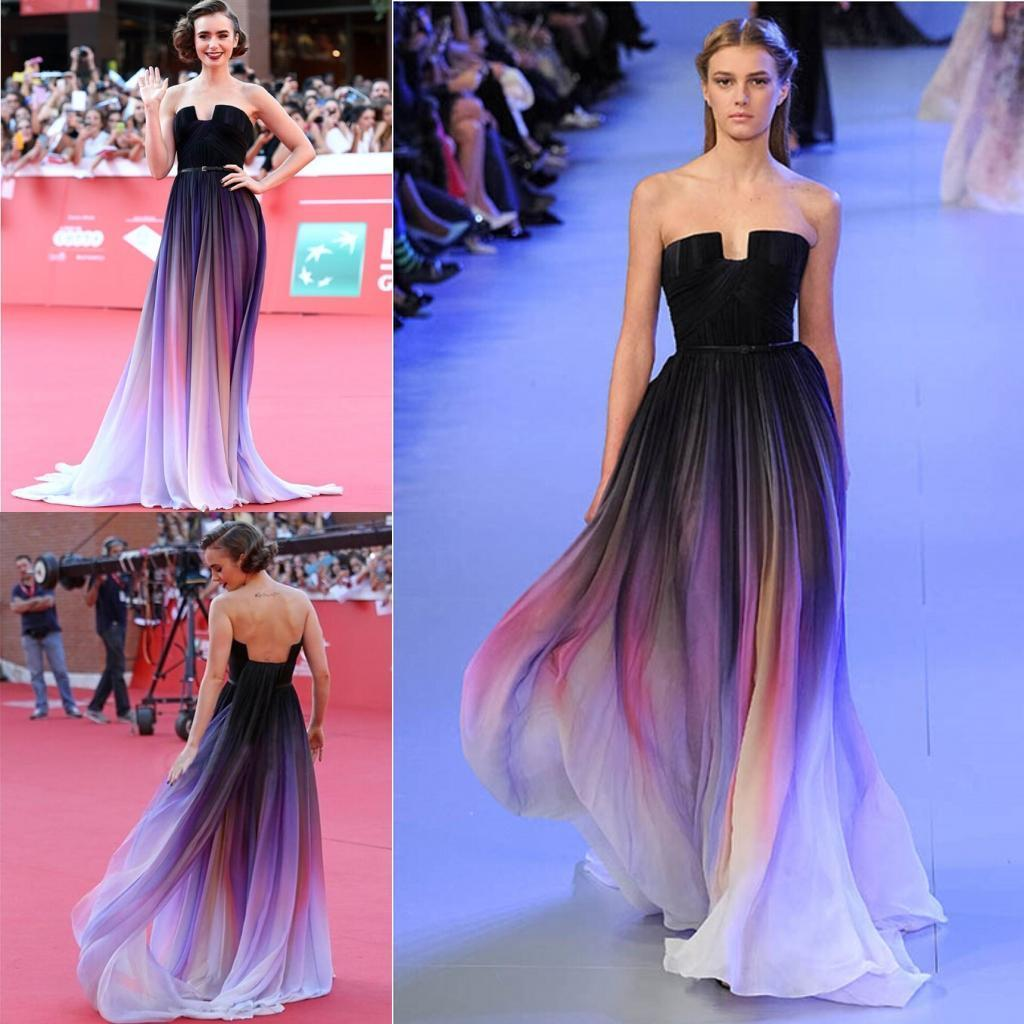 2015 Actual Image Vestidos Elie Saab Gradient Ombre Chiffon Evening Dresses Strapless Pleats Lily Collins Party Gowns Prom Dress Long
