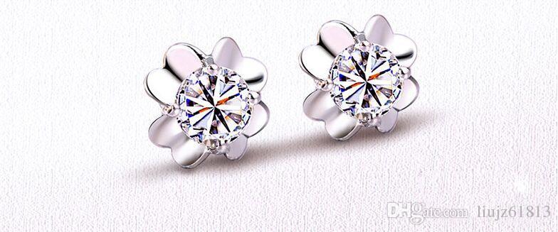 2015 New Fashion Elegant 925 Sterling Silver Fine Jewelry CZ Crystal Amethyst Lucky Four-leaf Clover Ear Stud Earrings For Women