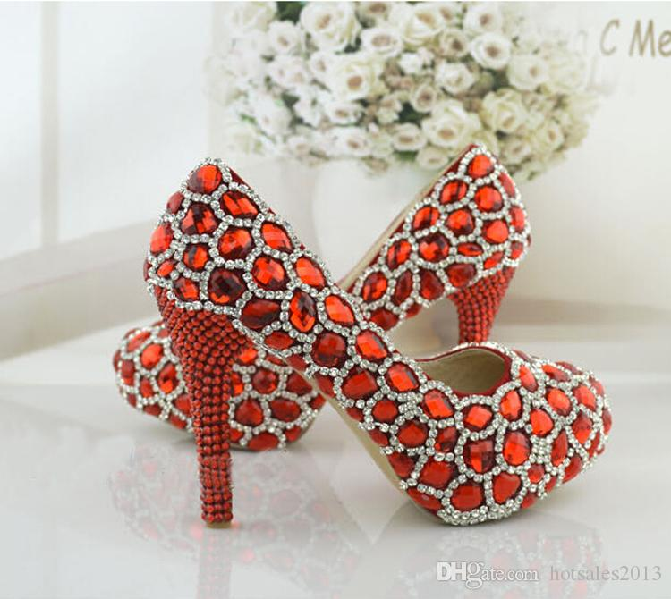 Strass scintillant chaussures de mariage rouge Performance Banquet Talons hauts Crystal Party Bal Plate-forme Maman Chaussures Mode Femmes Pompes