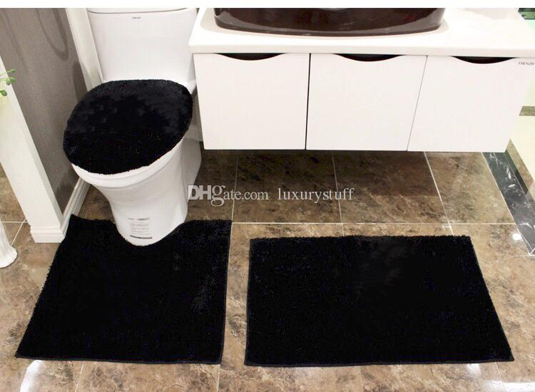 White Black Luxury Bathroom Rug Set Bathroom Rugs Mat Set Toilet