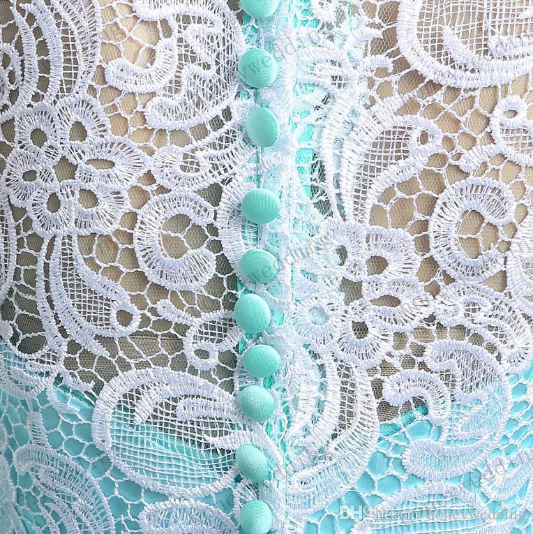 Realoteki Stockes Sukienka Sukienka Sheer Lace Tulle Suknie Wieczorowe Turkusowe Prom Dresses Druhna Dresses Tani na wesele i formalne
