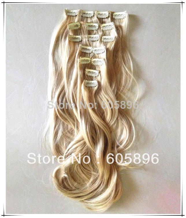 Hot sale 7pcs/set 20inch 180g quality synthetic 16 clips on hair extensions wavy blonde free shipping