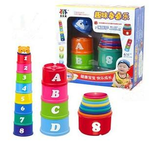 Interesting Rainbow Bear piles Cup baby toys Early Childhood Infant kids educational toys with Package