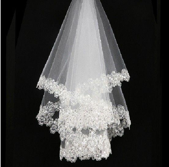 Sıcak Satış Beyaz Fildişi Gelin Veils Payetli Boncuklu Yumuşak Tül Kısa Düğün Veils Stokta NO: 53