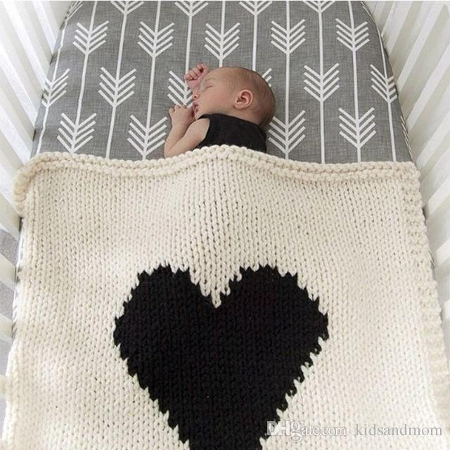 Fashion Loving Heart Baby Blanket Knitted Baby Bedding Wrap Soft