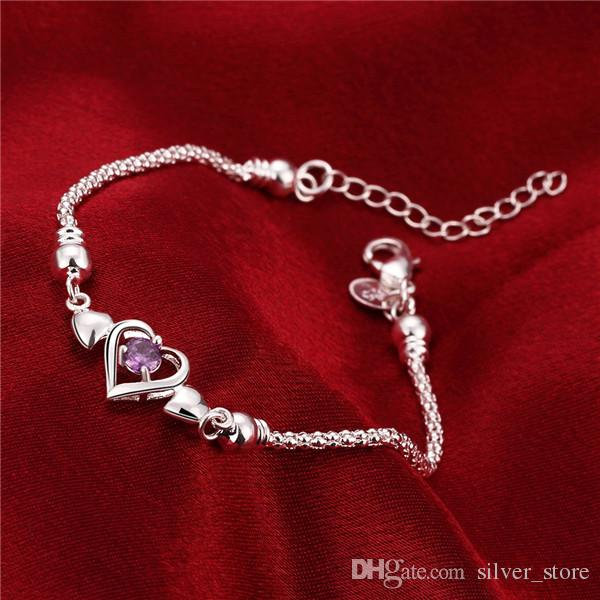 Hot sale gift 925 silver Three insets Heart Bracelet DFMCH383,Brand new sterling silver plate Chain link gemstone bracelets high grade