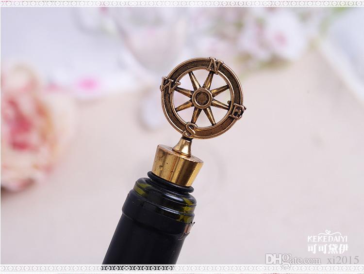 50 adet / grup düğün hediyeleri hediyeler vintage bronz pusula Şarap Şişesi Tıpa mevcut Keepsake hatıra