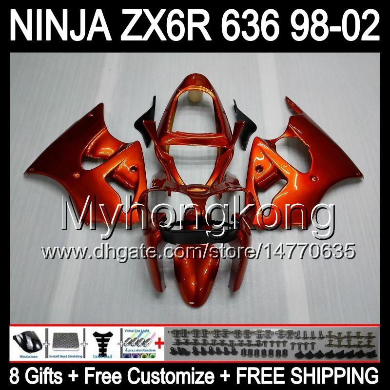 Arancione del corpo 8Gifts + Kawasaki ZX6R 98-02 ZX636 ZX 636 MY39 ZX6R Gloss arancione ZX 6R 98 99 00 01 02 1998 1999 2000 2001 2002 carenatura