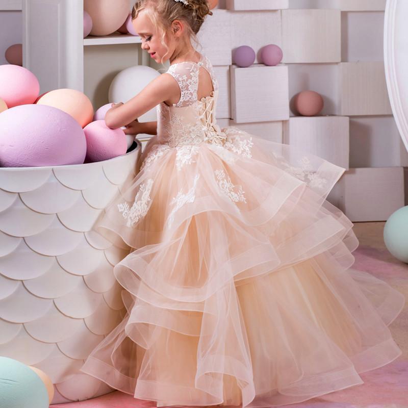 Compre Vestido De Fiesta De Encaje De Champagne Flower Girl Dress ...