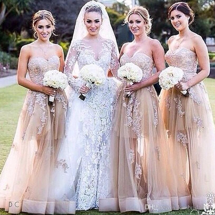 Lace Long Bridesmaid Dresses Formal Prom Dresses Party Gowns With Sweetheart Neck Illusion Tulle Fabric Little Skirt Inside