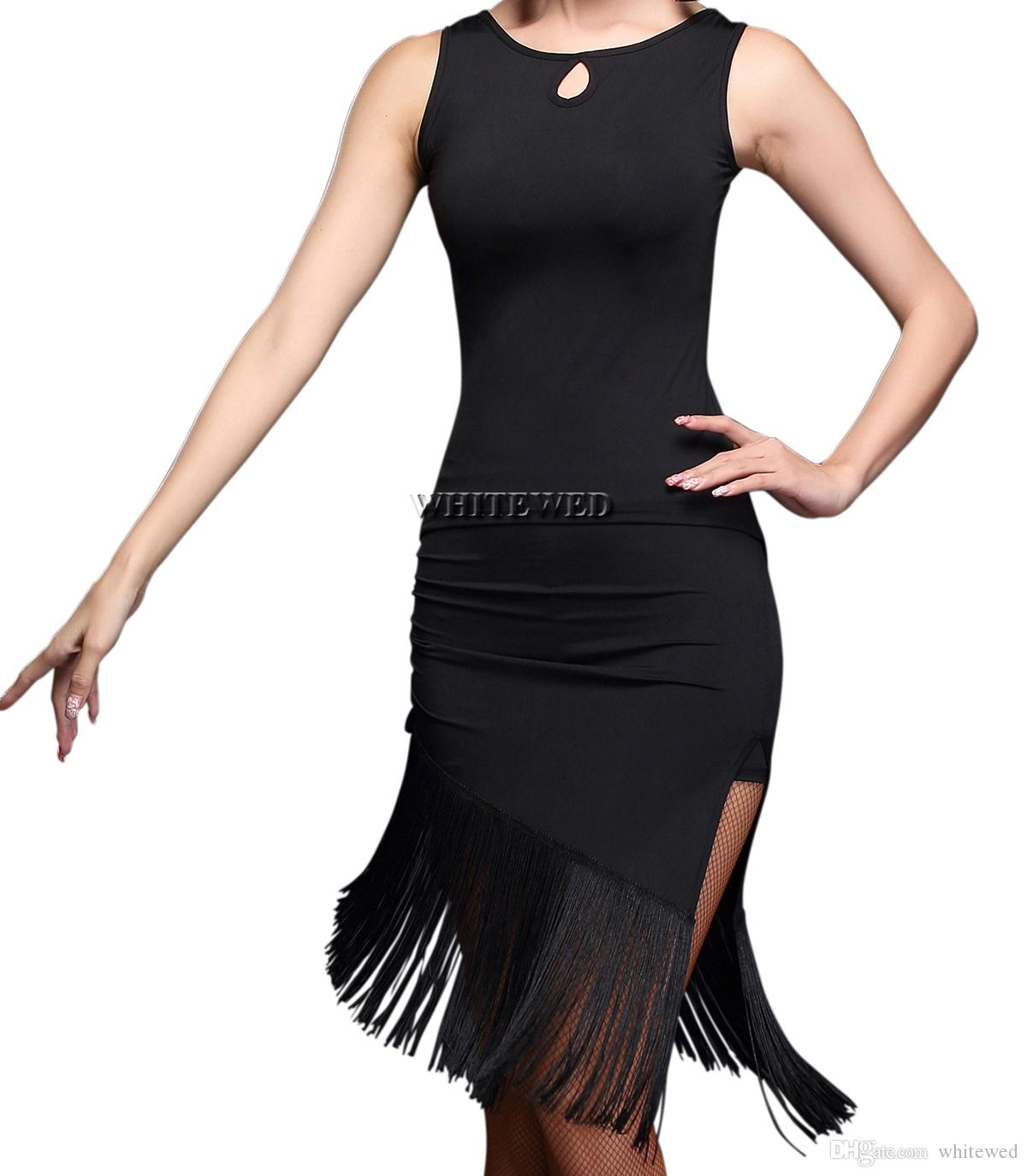 52d8cdf1a505 2019 Two Piece Tassel Latin Salsa Cha Cha Tango Dance Lesson Practice  Apparel Outfits Fringe Salsa Tango Dance Recital Jazz Dresses From Whitewed