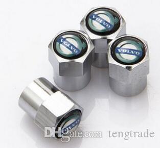 prata aço inoxidável R Cap pó metálico de válvula do pneu válvulas do pneu Mini Caps Emblema do carro emblema emblemas Volvo [três opções] para V40 S40 S90 XC90