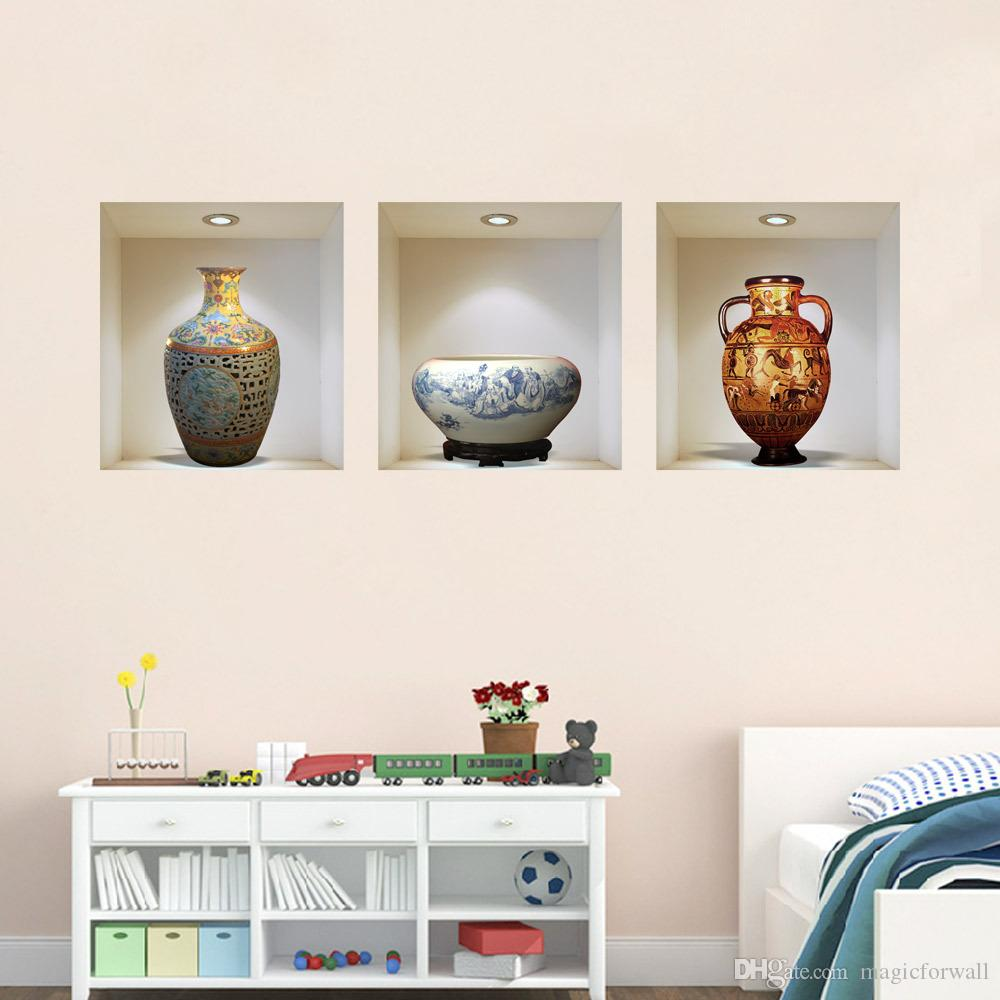 3D Flower Vase PVC Wall Stickers Poster Simulation china and cut animals of Interior Decoration Wall Sticker Home Decoration Picture