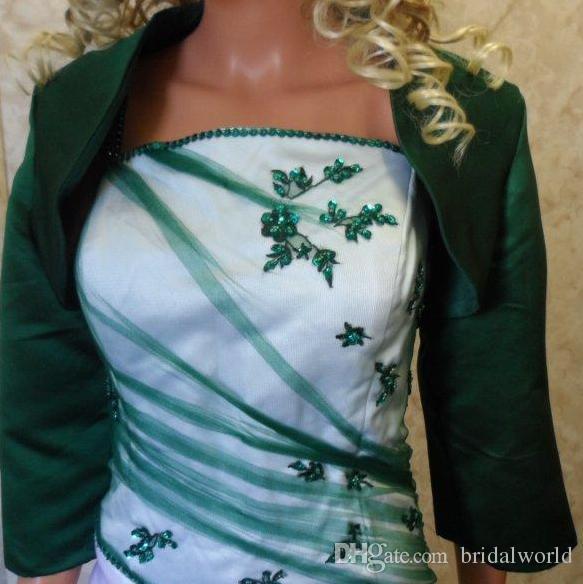 Болеро Куртки для выпускного платья Атласные куртки для особых случаев 3/4 с длинным рукавом Свадебные шали Болеро накидки для новобрачных