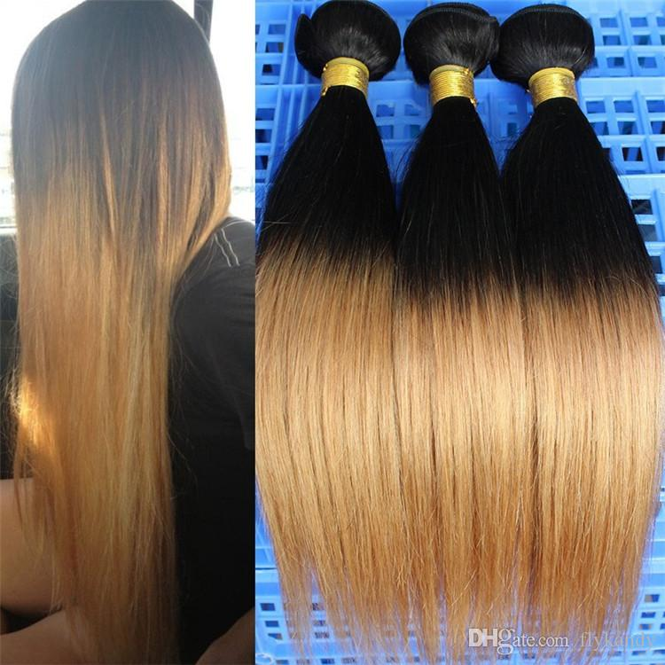 10 30 3 Or 4 Bundles Virgin Straight Brazilian Human Ombre Hair