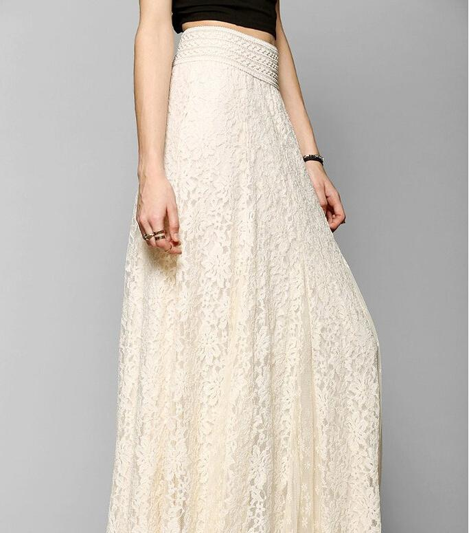 2016 Europe and America Women Maxi Skirt Hollow Lace Slim High Waist Skirts Sexy Umbrella Party Dress Long Maxi Skirts Plus Size S-XL