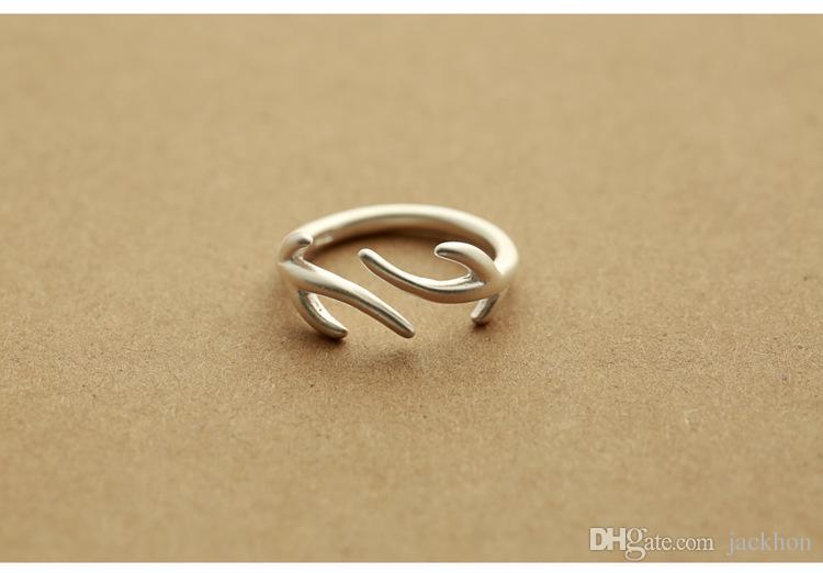 30 шт. - R032 открытие двойной Рога Rng симпатичные регулируемая олень Рога кольца олень животных оленей кольцо ветви дерева кольца для женщин партии подарки