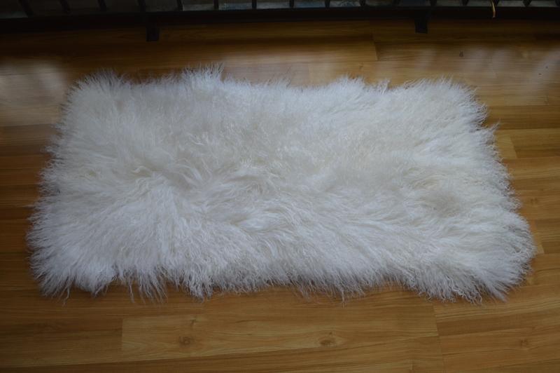 115x55cm Nature Sheep Skin Wool Carpet Long Hair Blanket