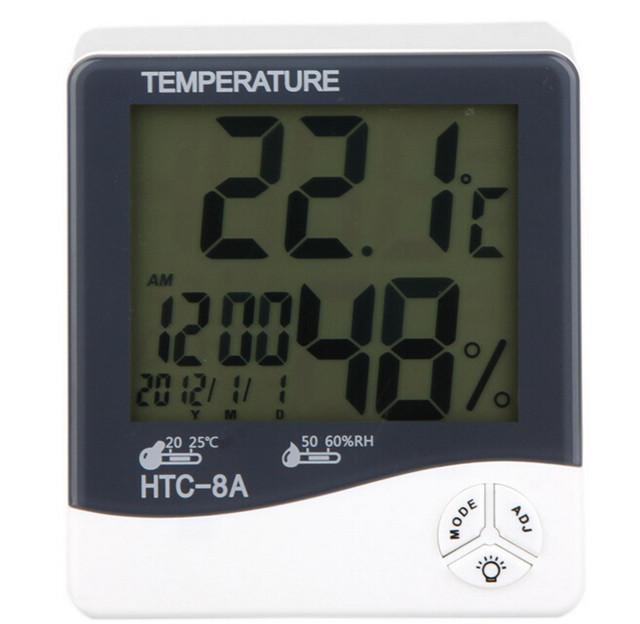 Luminosa Digital Termo-higrômetro Digital LCD com Luz LED Temperatura Hum Medidor Tester Data Relógio HTC-8A Frete Grátis