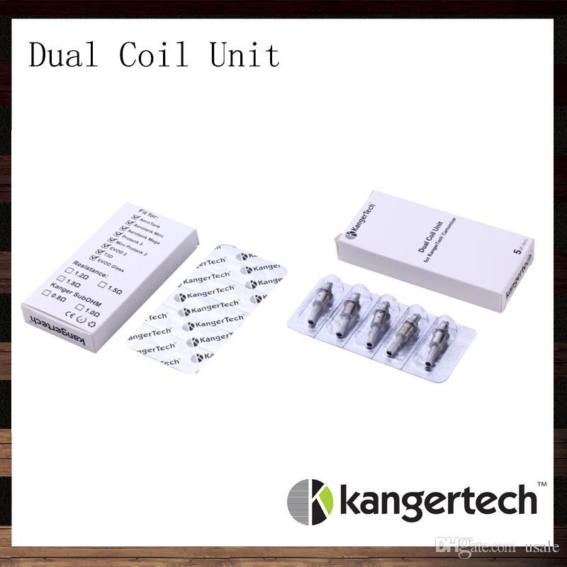 Kanger Dual Coil Unit For Aerotank Aerotank Mega Aerotank Mini Evod Glass Protank3 EMOW DualCoil Unit For Kanger Clearomizers 100% Original