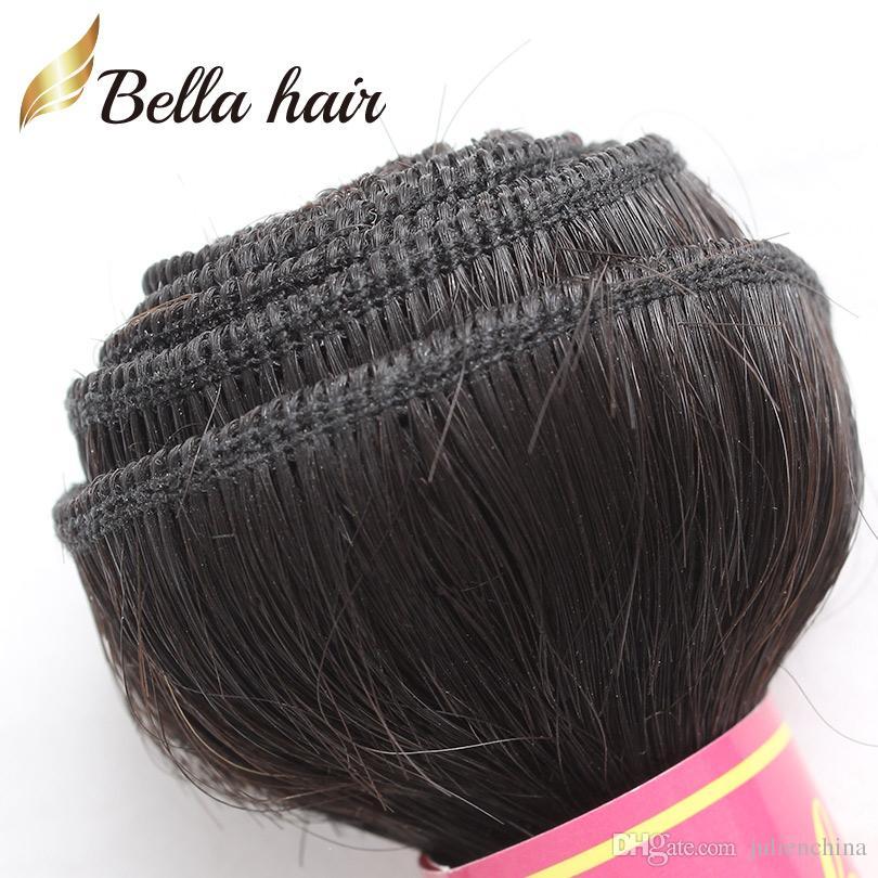 Bella Hair® Brasilianische Haarbündel mit Verschlussohr zum Ohr-Spitze-Frontalverschluss seidig gerader Körperwellen-Haarwege mit Spitzenverschluss
