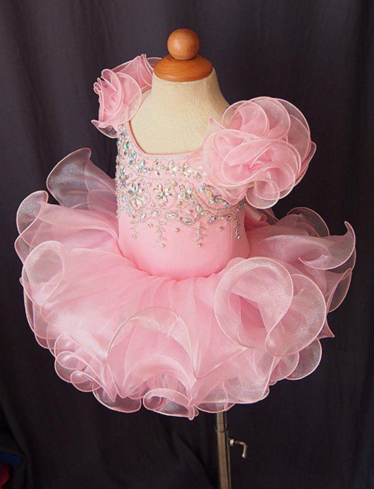 Bling Ruffle Beads Cupcake Birthday Girls Pageant Dresses 2018 Short Girl Communion Dress Kids Formal Wear Flower Girls Dresses for Wedding