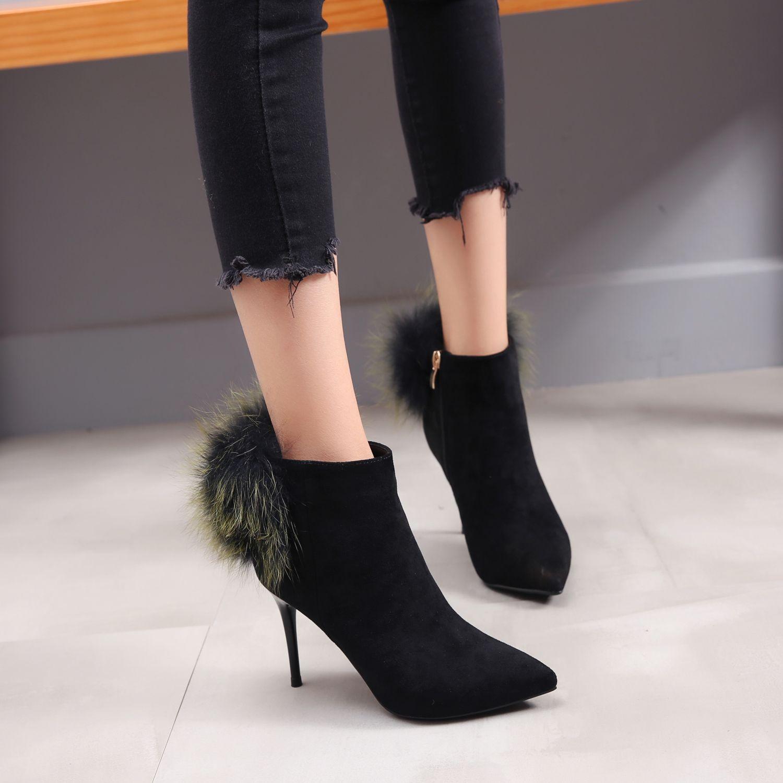 New Winter Pointed Toe Ankle Boots For Women Luxury Velvet Stiletto Heel Hair Ball Side Zipper Pompoms Women Booties